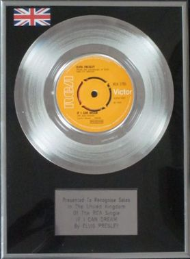"ELVIS PRESLEY - 7"" Platinum Disc - IF I CAN DREAM"